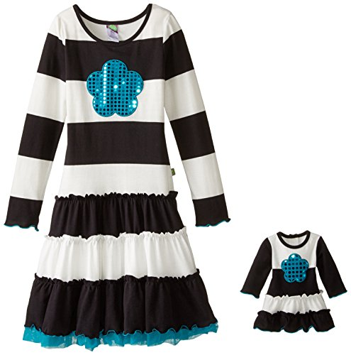 s' Knit Stripe Dress with Tulle Hem and Sequin Flower Applique, Black/White, 14 ()