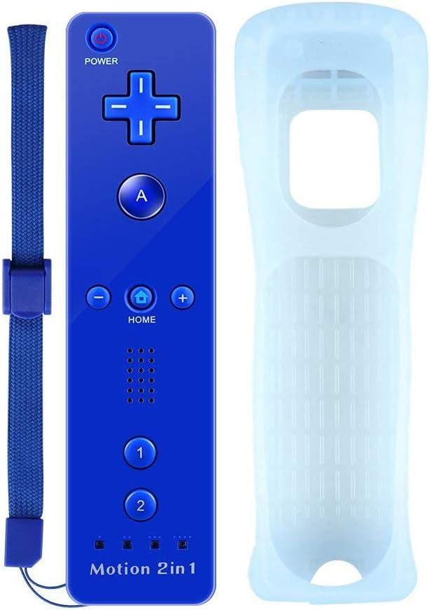 Satohom Wii mando a distancia inalámbrico juego joysticks incorporado en movimiento Plus mando a distancia con funda de silicona y correa de muñeca Wii mando a distancia de repuesto para Wii y Wii U