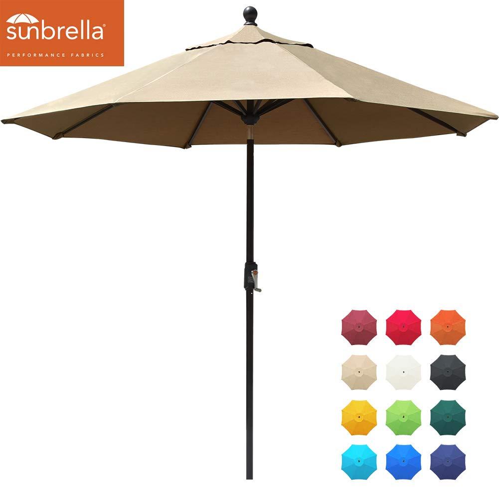 EliteShade Sunbrella 9Ft Market Umbrella Patio Outdoor Table Umbrella with Ventilation (Sunbrella Heather Beige) by EliteShade
