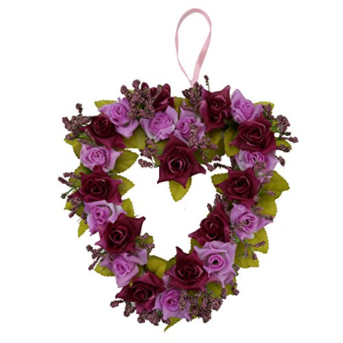 A-SZCXTOP Heart-shape Garland for Wedding Home Decoration Romantic Hanging Wreath for Valentine Garland Holiday Decoration for party Appr 8 Inch - Heart Shape Wire Wreath Frame
