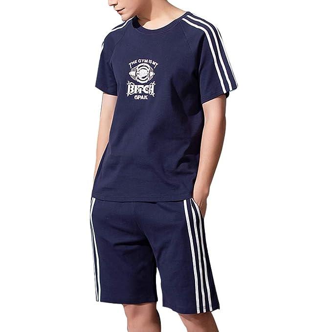 7336470179c6 LOPEZ KENT Men's Soft Cotton Short Sleeves and Shorts Pajama Set Summer Pjs  for Men Deep