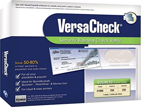 VersaCheck Security Business Check Refills: Form #1000 Business Voucher - Tan - Prestige - 250 Sheets