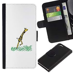 EJOY---Tirón de la caja Cartera de cuero con ranuras para tarjetas / Apple Iphone 6 / --Jirafa divertida COMIC