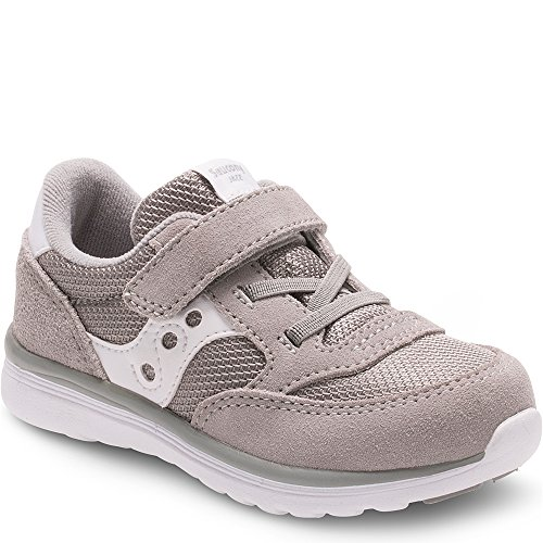 Saucony Baby Jazz Lite Sneaker, Grey Wht, 4.5 Extra Wide US Toddler