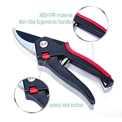 """8"""" Bypass Pruning Shears,Tree Trimmers Secateurs, Hand Pruner, Garden Shears, Clippers For The Garden, Perfect sharp for best cutting Strong Safety Lock Button for Children Sefe"""