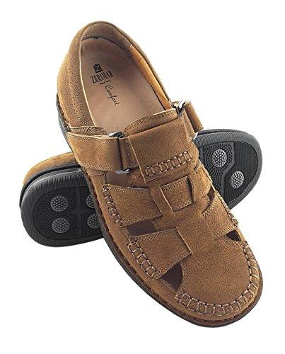 ZERIMAR Sandalias para hombres con alzas interiores de 7 Cm ¡OFERTA ESPECIAL 75 ANIVERSARIO! Diseño marcando moda 100% piel Color cuero cuero
