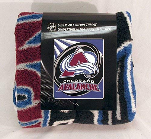 NHL Colorado Avalanche Puck Sherpa on Sherpa Throw, 50'' x 60'' by The Northwest Company