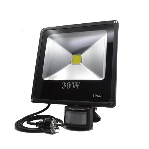 ZHMA 30W LED Foco Proyector, PIR Sensor de Movimiento Luz de ...