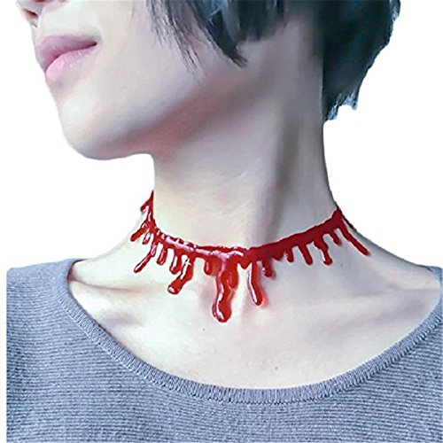 Theme Party Ladies Halloween Party Horror Blood Drip Slit Throat Necklace Bleeding Red Adjustable -