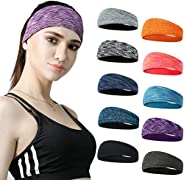 DASUTA Set of 10 Women's Yoga Sport Athletic Headband for Running Sports Travel Fitness Elastic Wicking Wo