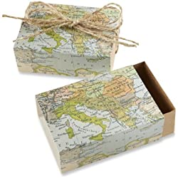 "Kate Aspen ""Around the World Map Favor Gift Box, Wedding/Party Decorations, Set of 24"