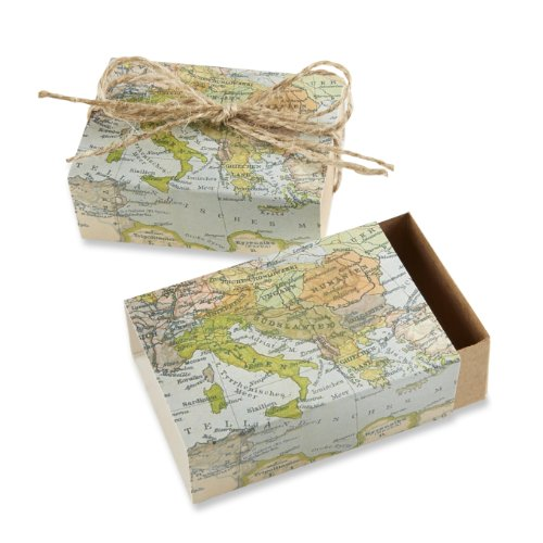 Kate Aspen Around the World Map Favor Gift Box, Wedding/Party Decorations, Set of 24 - Luggage Favor Box