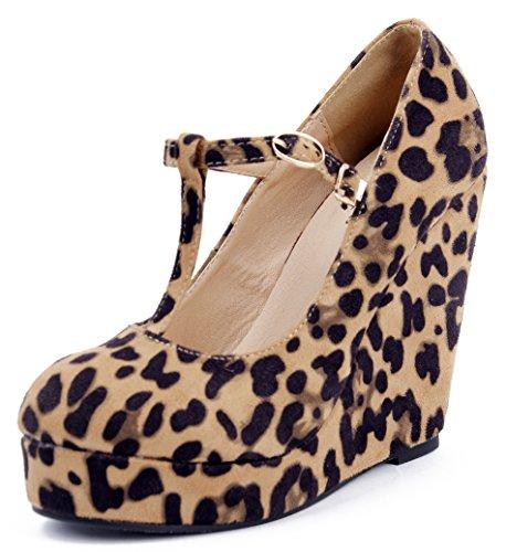 Shoes Court Shoes Wedges Buckle Shoes Leopard AgeeMi Heel Pumps Platform Women PvIwqt
