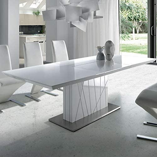 M-034 Elodie - Mesa de comedor extensible, color blanco lacado ...