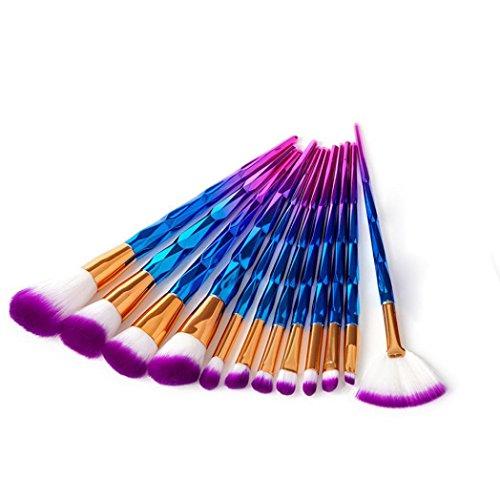 Lavany 12pcs Makeup Brushes Set With Plastic Handle (Purple) (32 Beauty Piece Set Makeup)