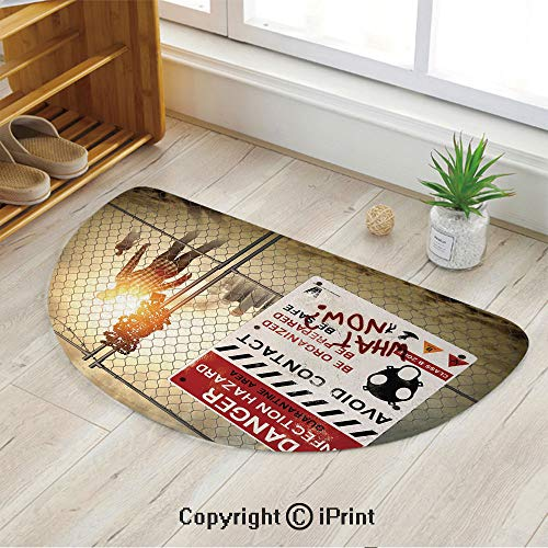 LEFEDZYLJHGO Semicircle Area Rug Carpet,Door mat Indoors Bathroom Mats Non Slip,Dead Man Walking Dark Danger Scary Scene Fiction Halloween Infection Picture,47