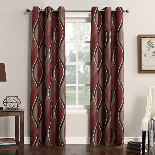 "No. 918 Intersect Wave Print Casual Textured Curtain Panel, 48"" x 84"", Paprika Red"