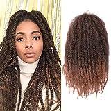 K&G HAIR Afro Twist Braiding Hair 18inch Marley Braiding Hair Synthetic Kinky Curly Marley Braid Hair Extensions(1B-30#)