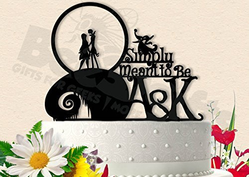 Jack and Sally With Zero Simply Meant To Be Initials Wedding Cake Topper ()