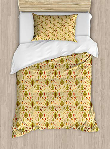 Berry Tree Set - Ambesonne Forest Duvet Cover Set Twin Size, Cartoon Woodland Animals and Foliage Pattern with Oak Acorn Pine Trees Rowan Berries, Decorative 2 Piece Bedding Set with 1 Pillow Sham, Multicolor