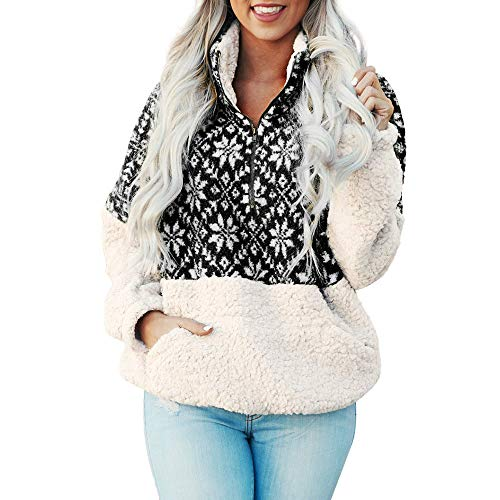 Women Christmas Snowflake Printed Fluffy Hoodie Sweatshirt Outerwear Pullover Fleece Hooded