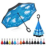 NewSight Reversible Umbrella – Inverted Dual Layer Stick Umbrella, Self-Stand & C-Shape Hook to Free Hands, Inside Out Folding for Car Drivers & Passengers, with Carrying Sleeve & Zip Bag