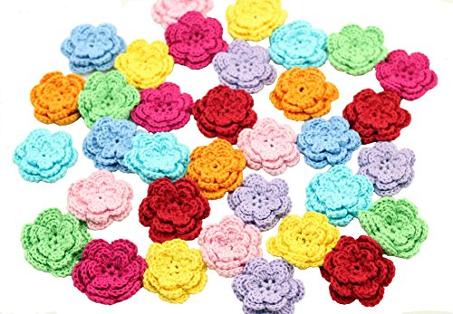 20 Large Handmade Crochet Flower Appliques Sewing 8 Colors Size: One Size