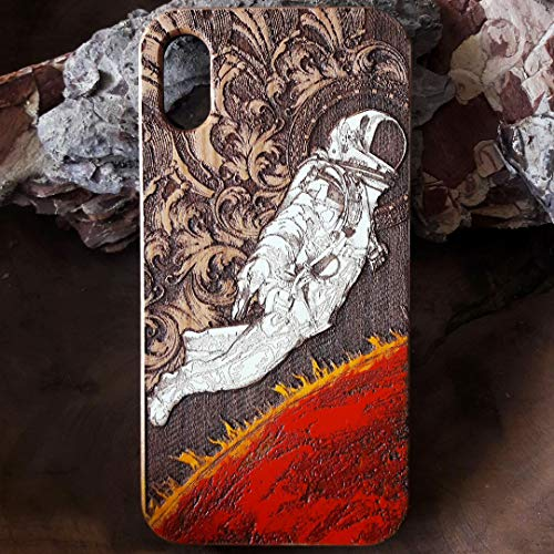 (Outer Space Astronaut iPhone X/XS Case | Real Wood Laser Etched & Hand Painted iPhone X | Unique iPhone XS Cover Art on Real Wood | Protective Natural Cherrywood Wooden Case by ENGRAVERS DUNGEON)