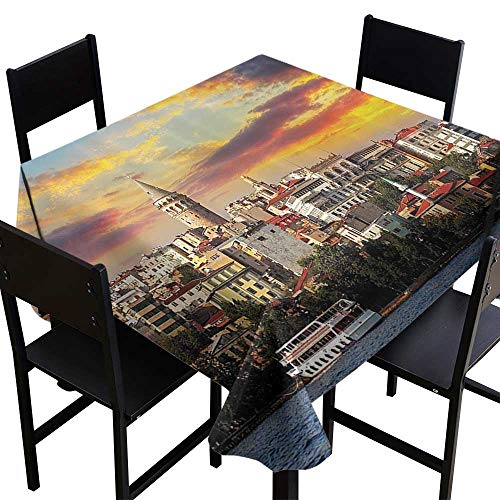 SKDSArts Square Tablecloth European Cityscape Decor Collection,Istanbul at Sunset with The Sea Capital of Byzantine Old Roman Ancient Tower Print,Multi,W50 x L50 Table Cover for Outdoor and Indoor