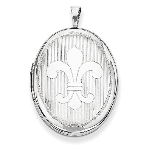 (.925 Sterling Silver Fleur De Lis Oval Locket Charm Pendant)