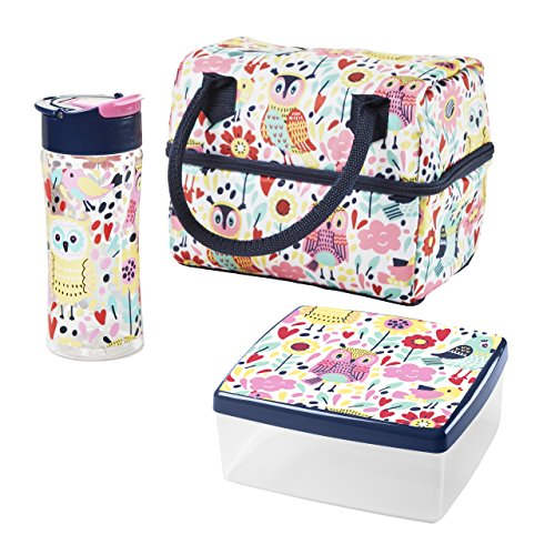 Fit & Fresh Ivy Insulated Lunch Bag with Chilled Container Set and Matching Water Bottle (Multi Hoot Garden)