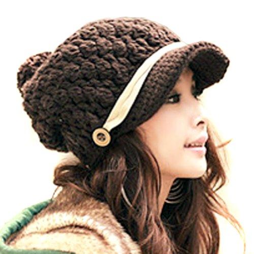para Hats mujer de FFH086 punto Brown LOCOMO Gorro ICvwqxqR