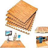 240 Sqft Interlocking Wood Effect Mats Eva Soft Foam Exercise Floor Gym Office ! For Sale