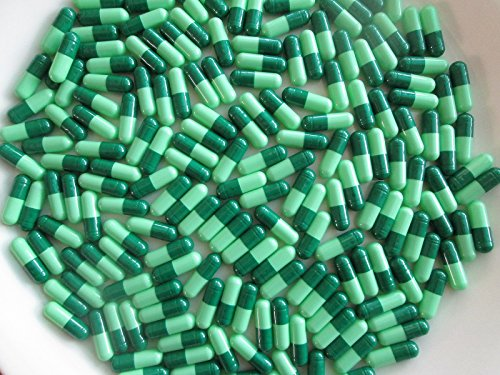 1000 Light Green/ Dark Green Empty Gel GELATIN CAPSULES ~SIZE 0 ~ (Kosher/ Halal)