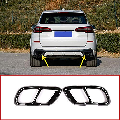 Bmw 2020 Muffler - YIWANG Stainless Steel Exhaust Muffler Tail Tip Pipe Trim Cap Cover Frame 2Pcs For BMW X5 G05 X7 2019 2020 Auto Accessories (Glossy Black)