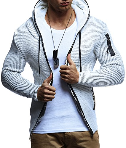 Knit Hooded Sweater (Leif Nelson LN5455 Men's Zip Through Knit Hoodie; Size US-L/EU-XL, ECRU Grey)