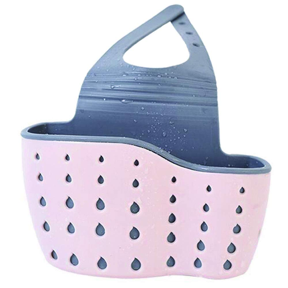 Sponge holder for Kitchen Sink, bathroom, toilet, Hanging Sink Caddy Organizer with Adjustable Strap, hanging vertical snap double-deck storage bag, convenient drain storage rack (Pink)