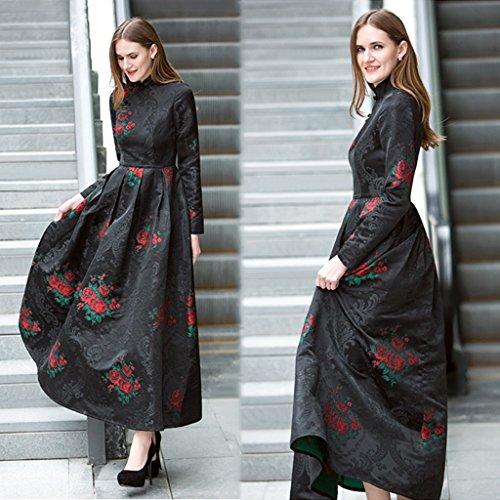 cheongsam lungo signora abito nuovo Slim Size vestito XXXL abito floreale maniche nero La primavera lunghe 2018 a xnBTUAqFx