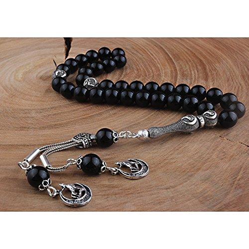 GloBeads Prayer Beads Turkish Gemstone Tasbih Gift, Onyx Satin Silver Bozkurt İmame And Puskullu.Dt-250 (Turkish Silver Bead)