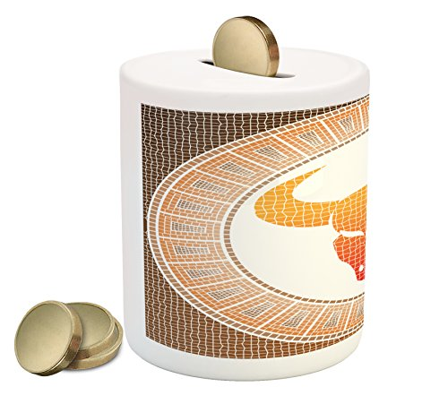 Lunarable Astrology Piggy Bank, Taurus on Abstract Mosaic Background Earth in Cosmos Power Bull Artsy Design, Printed Ceramic Coin Bank Money Box for Cash Saving, Brown Orange