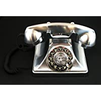 Modern Cool Decorate 1920s Chrome Classic Old Model Timey School Antique Vintage Novelty Funky Looking Victorian Style Retro Touch Tone Dial Fashion Nostalgic House Office Landline Telephone Replica