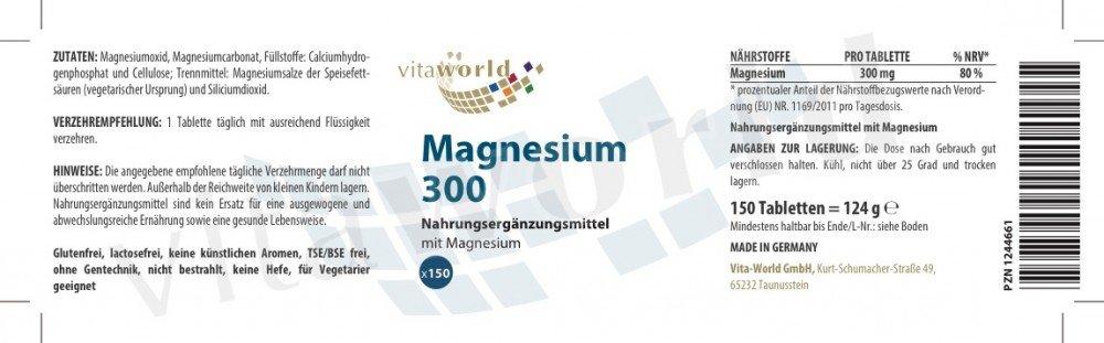 Pack de 3 Magnesio 300mg 3 x 150 Comprimidos - Vita World Producción Farmacia Alemania: Amazon.es: Salud y cuidado personal
