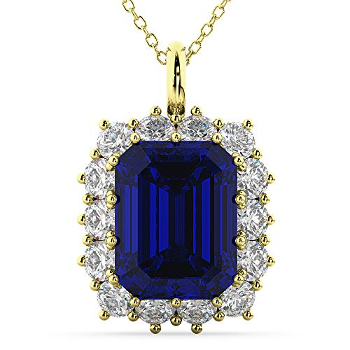 14K Yellow Gold Finish 1.30Ctw Emerald Cut Blue Sapphire CZ Floral HaloPendant Necklace