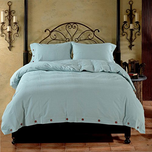YU HAO CHEN Duvet Cover Queen, Washed Cotton Duvet Cover Set - 3 Piece (Queen,Spa Blue) by YU HAO CHEN