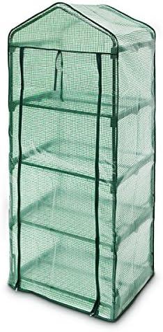 Relaxdays – Invernadero de 4 Pisos para el jardín Hecho de Tubos de Acero y Lona de plástico con Medidas 70 x 160 x 50 vivero para el balcón Carga máxima de