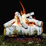 Myard DELUXE 18'' inches SIERRA BIRCH Fire Gas Logs (LOGS ONLY) for Natural Gas / Liquid Propane Vented Fireplace