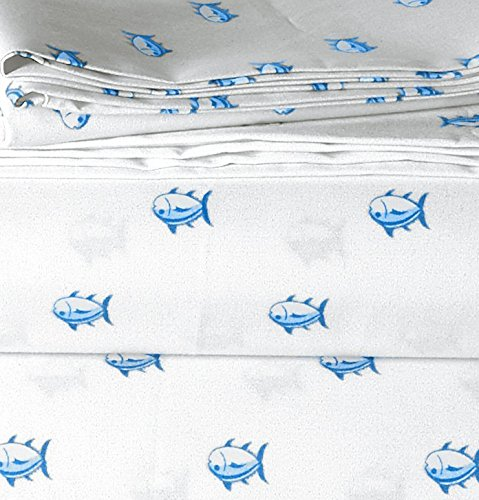 """Southern Tide Printed Cotton Sheet - Fitted: 39""""W x75""""LFlat: 70""""W x 90""""LSheet Depth: 12"""" 100% Cotton Machine wash in cold water, with similar colors; Do not bleach colors or prints; Tumble dry low; Remove promptly from dryer - sheet-sets, bedroom-sheets-comforters, bedroom - 516aU%2BBa%2BSL -"""