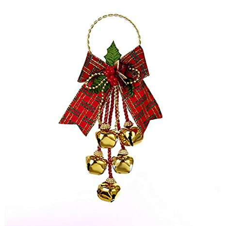 Christmas Bell.Kurt Adler 11 Christmas Jingle Bell Door Hanger With Bow