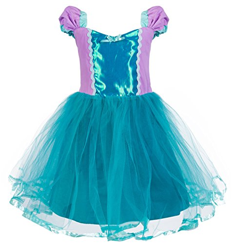 Princess Cinderella Rapunzel Little Mermaid Dress Costume for Baby Toddler Girl (5, -