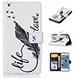 iPhone 5/5s/SE Wallet Case, Gxia Ultrathin PU Synthetic Leather Wristlet Magnet Snap Wallet [Credit Card/Cash Slots] Kickstand Flip Case Cover for Apple iPhone 5/5s/SE - 01